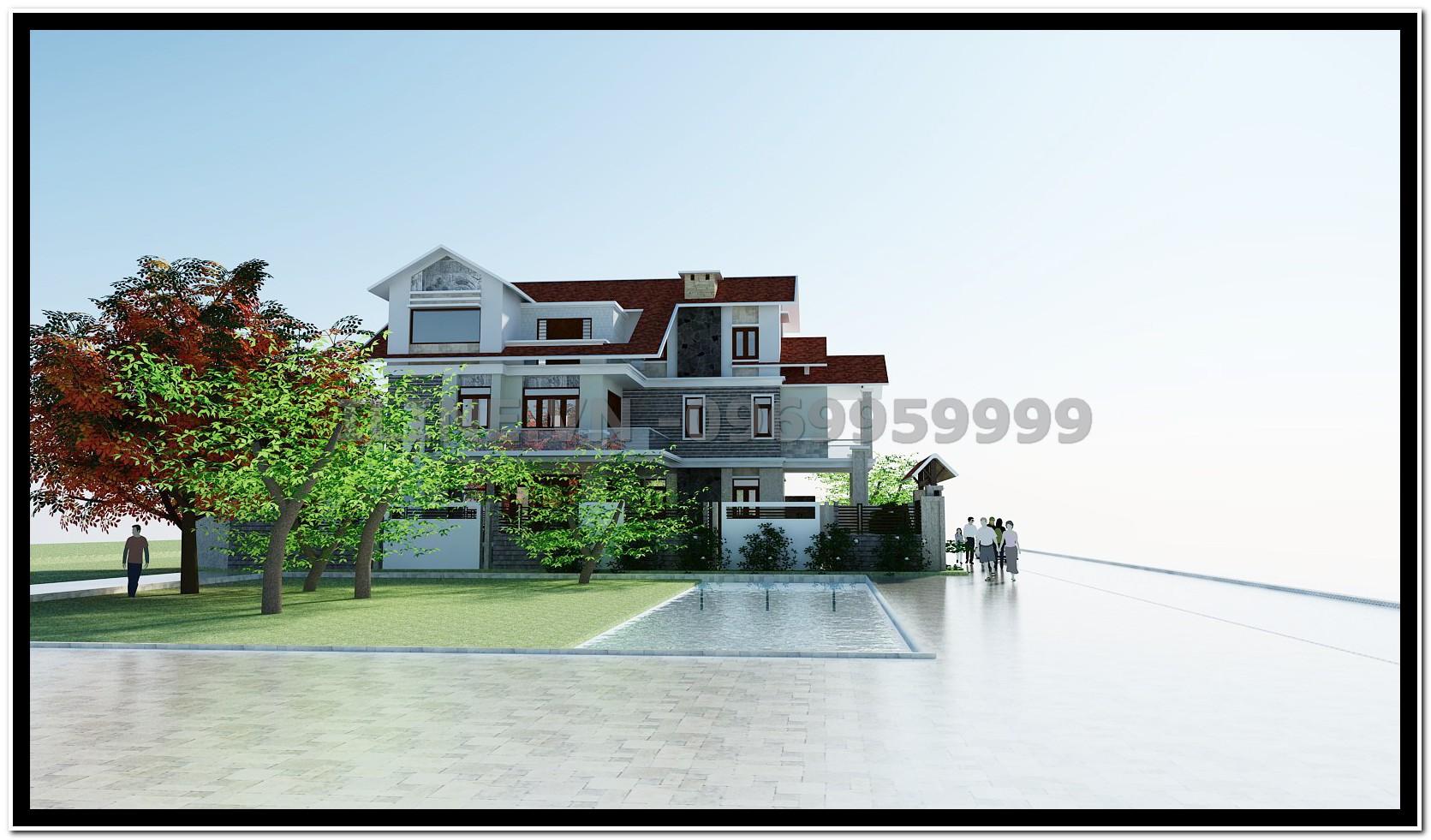 Biệt thự xây dựng theo phong cách truyền thống mang đậm nét đẹp Á đông! Biệt thự nhà anh Linh.